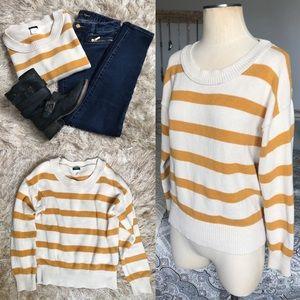 J. Crew Mustard Yellow Striped Knit Sweater